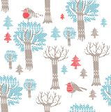 Winter forest with birds Royalty Free Stock Images