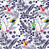 Winter forest with birds pattern. Royalty Free Stock Images