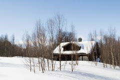 Winter Forest Cabin Stock Photography