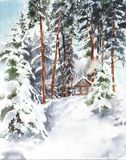Winter forest cabin in the woods snow landscape watercolor painting illustration stock illustration