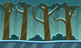 Winter Forest Cartoon Background Stock Photo