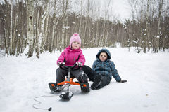 Winter in the forest children sledding. Royalty Free Stock Photo