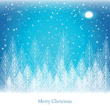 Winter forest on Christmas postcard background. Royalty Free Stock Photos
