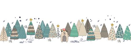 Winter forest christmas seamless background with cute bear. vector illustration