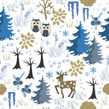 Winter forest. Christmas seamless pattern Stock Photography
