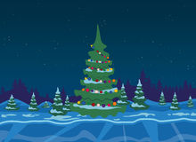Winter forest with christmas tree. Decorated Christmas tree in a winter forest stock illustration