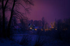 Winter forest and cottages Stock Image
