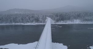 Winter forest crossing over the river Biya, Altai, Russia 2 stock footage
