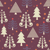 Winter forest. Fairytale firtrees - christmas  seamless pattern Stock Images