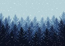 Winter night forest. falling snow in the air. christmas theme. new year weather. background royalty free stock photography