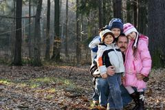 Winter Forest Family Stock Photography