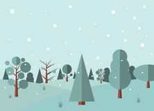 Winter forest flat background Stock Photo