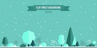 Winter forest flat background. Simple and cute landscape for your design Stock Images
