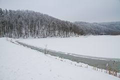 Winter in forest frozen lake Royalty Free Stock Images