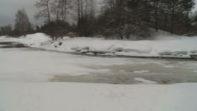 Winter forest and frozen river on a nasty cold day stock footage