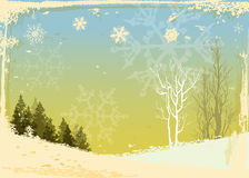 Winter forest grunge background Royalty Free Stock Photo