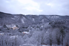 Winter on forest hills (Chezh Republic). Stock Images