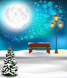 Winter Forest Landscape Christmas Background Stock Photo
