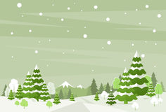 Winter Forest Landscape Christmas Background, Pine Stock Photo