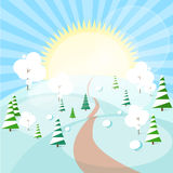 Winter Forest Landscape Christmas Background, Pine Stock Images