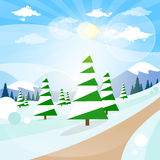 Winter Forest Landscape Christmas Background, Pine Stock Photography