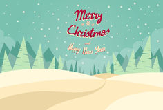 Winter Forest Landscape Christmas Background, Pine Royalty Free Stock Images