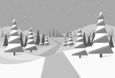 Winter forest landscape Christmas black and white Stock Image