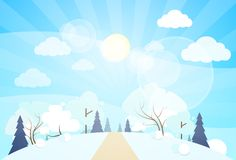 Winter forest landscape Christmas, pine snow trees. Winter forest landscape Christmas background, pine snow trees woods vector illustration Stock Images