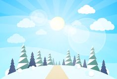 Winter forest landscape Christmas, pine snow trees. Winter forest landscape Christmas background, pine snow trees woods vector illustration Royalty Free Stock Photography
