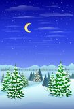 Winter forest landscape christmas trees woods Royalty Free Stock Photos