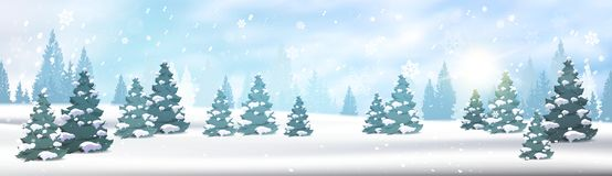 Winter Forest Landscape Horizontal Banner Pine Trees Falling Snow White View Blue Sky Christmas Concept Stock Photography