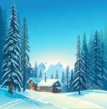 Winter forest landscape . Stock Photos