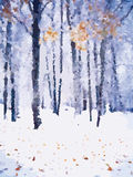 Winter forest landscape  illustration Royalty Free Stock Images