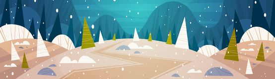 Winter Forest Landscape Moon Shining Over Snowy Trees, Merry Christmas And Happy New Year Banner Holidays Concept. Flat Vector Illustration Royalty Free Stock Image
