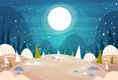 Winter Forest Landscape Moon Shining Over Snowy Trees, Merry Christmas And Happy New Year Banner Holidays Concept. Flat Vector Illustration Stock Images