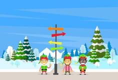 Winter Forest Landscape Sign Direction Way vector illustration