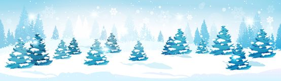 Winter Forest Landscape Snowy Pine Trees Horizontal Banner Stock Image