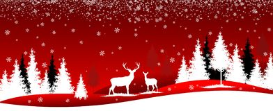 Winter forest, landscape, trees and deer royalty free illustration