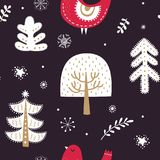 Winter forest and magic trees Stock Photo