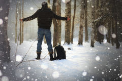 Winter forest man Royalty Free Stock Photos