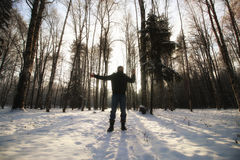 Winter forest man Royalty Free Stock Images