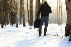 Winter forest man Royalty Free Stock Photography