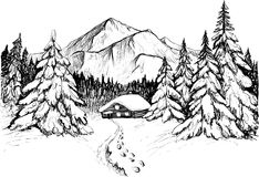 Winter forest in mountains vector illustration. Snowy firs and house. Winter forest in mountains, sketch. Black and white vector illustration of snowy firs Royalty Free Stock Photography