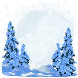 Winter forest. New Year background for design of postcard or banner. Daytime sky in the winter forest Stock Photo