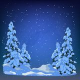 Winter forest. New Year background for design of postcard or banner. Night sky in the winter forest Stock Photos