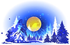 Winter forest at night. Big yellow moon, high spruce, dark night Stock Photos