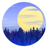 Winter forest night landscape vector circle illustration with full moon. Christmas background graphic design with pine fir tree vector forest, night winter Stock Images