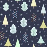 Winter forest at night seamless pattern. Christmas background. Vector illustration Stock Photos