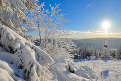 Winter Forest Ochsenkopf. Snow-covered winter scenery frosty coldly and Sun Ski stock photo