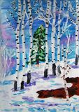 Winter forest painted by child. Snowy winter forest with birch and christmas trees. Gouache painting made by child stock illustration